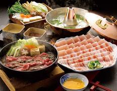 宮崎県産黒毛和牛すきやき肉と おいも豚しゃぶしゃぶ肉の画像