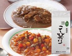 【メール便】新宿中村屋プチカレー2袋(ビーフ、彩り野菜と豆)、新潟産こしひかりセットの画像