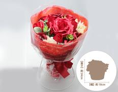 日付指定可!お誕生日など、お祝いに最適!ソープフラワー ブーケスタンド 赤の画像
