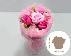 日付指定可!お誕生日など、お祝いに最適!ソープフラワー ブーケスタンド 桃の画像